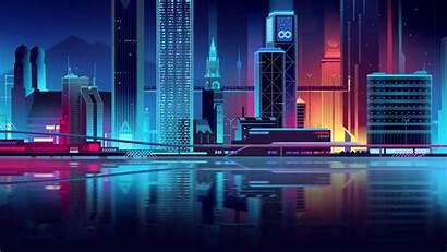 Neon Minimalist Cityscape Futuristic Vector Digital Illustrations