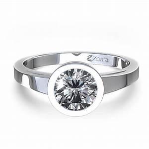 contemporary bezel set 1 2 ctw round solitaire engagement With bezel set engagement ring with wedding band
