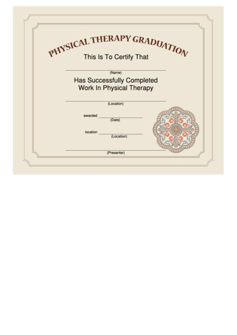 physical therapy graduation certificate template printable