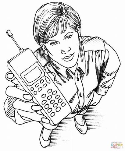 Coloring Phone Cell Pages Woman Phones Technology