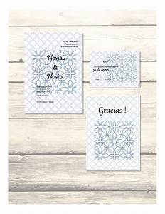 set of blue al andalus wedding invitation rsvp thank With printable wedding invitations in spanish