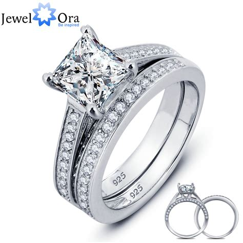 wedding rings silver luxurious wedding ring bridal sets 925 sterling silver 1072