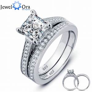 luxurious wedding ring bridal sets 925 sterling silver With square wedding ring sets