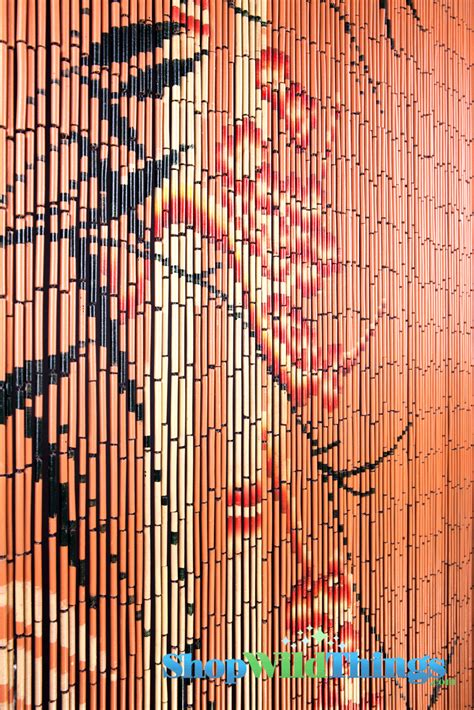 bamboo painted beaded curtain with bamboo trees on orange