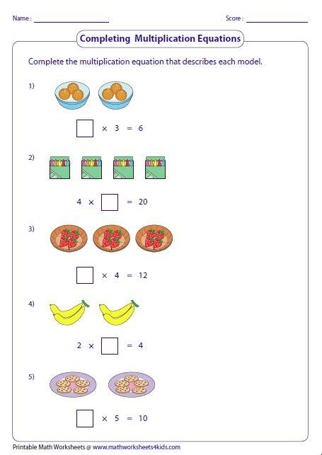 Multiplication Models Worksheets