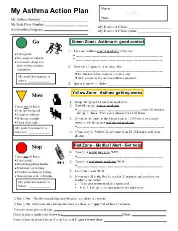 Asthma Action Plan And Peak Flow Diary
