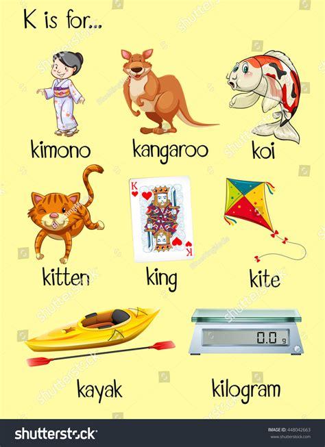 many words start letter k illustration stock vector 204 | stock vector many words start with letter k illustration 448042663
