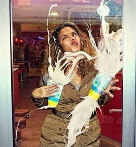 irti funny picture  tags girl splat milkshakes