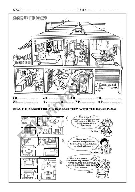 Parts Of The House  Esl Worksheet By Canaryteacher