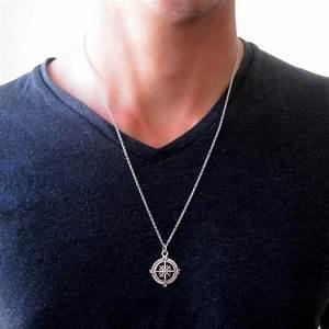 Men U0026 39 S Compass Necklace Men U0026 39 S Silver Necklace Mens