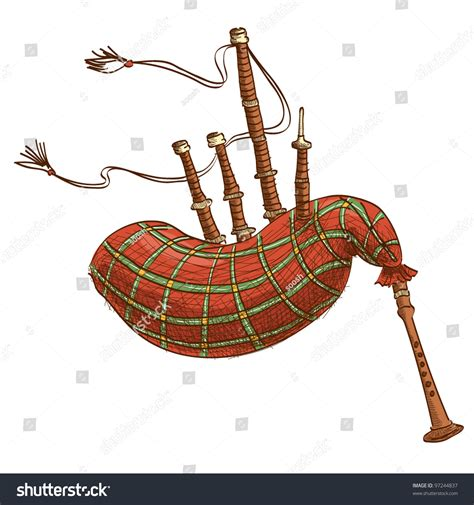 Vector Illustration Bagpipe Isolated On White Stock Vector