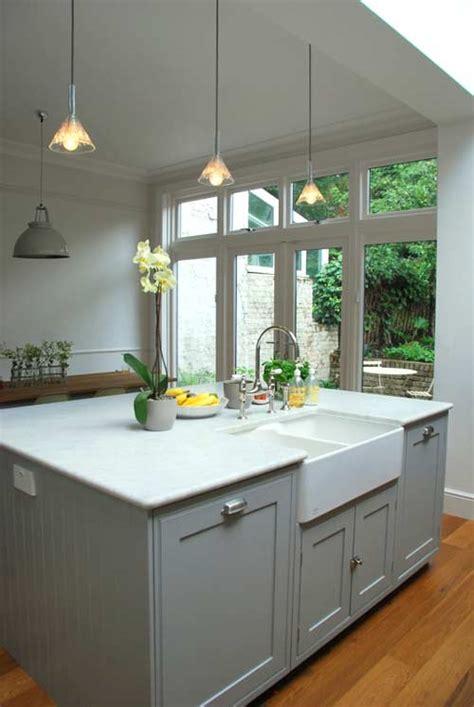 en sink benchtop grey cupboards marble benchtop belfast sink curvy tap kitch