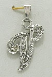 14k white gold diamond initial pendant any letter in the With letter pendant designs