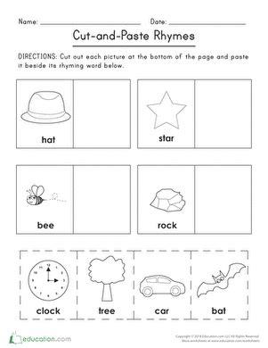 cut and paste rhymes worksheet education com