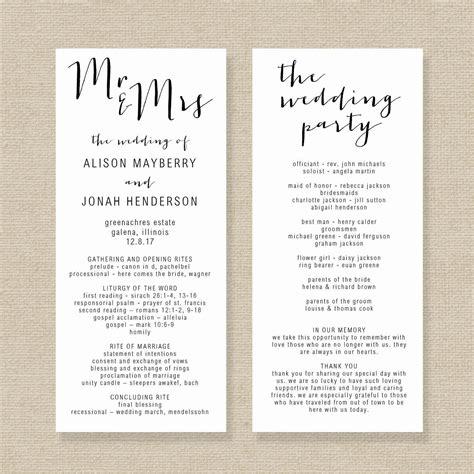 wedding program template editable wedding program rustic