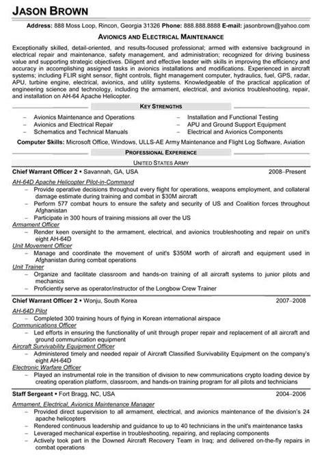 Avionics and Electrical Maintenance Resume (Sample
