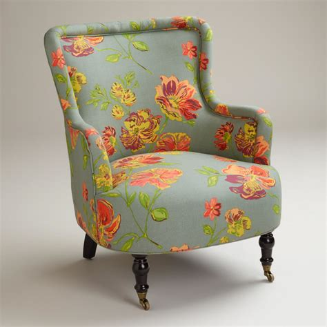 gray vintage floral reading chair traditional