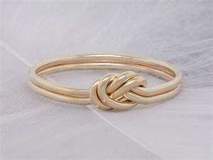 double strand nautical knot engagement ring 14k solid With knot wedding rings