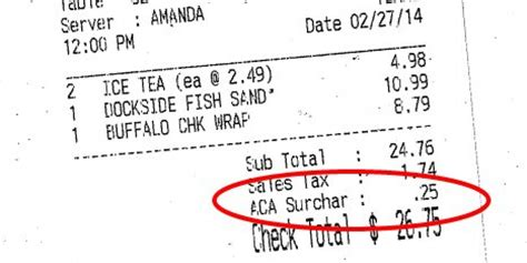 florida restaurant charging customers  obamacare costs