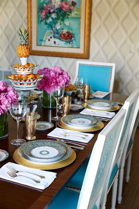 fresh traditional styled home  turquoise accents