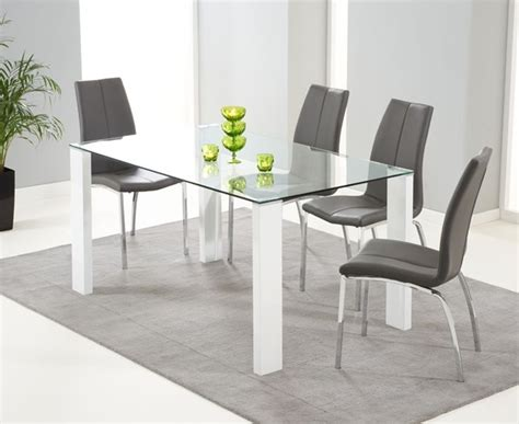 grey and white dining table mark harris lourdes glass and white gloss 150cm dining