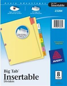 worksaver big tab insertable dividers copper reinforced With avery 8 big tabs insertable template