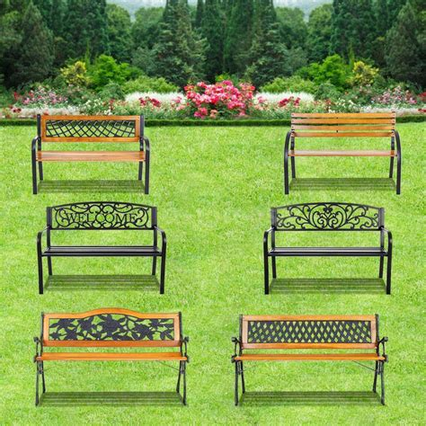 ikayaa outdoor garden park bench patio furniture cast iron