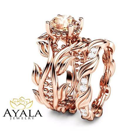 pink morganite leaf engagement ring unique 14k rose gold bridal ebay