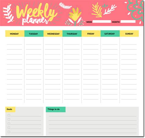template for students 10 students weekly itinerary and schedule templates