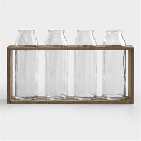 World Market Vases - 6 quot bottle vases with wood holder set of 4 world market