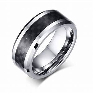 men39s jewelry tungsten ring with carbon fiber 8mm black With mens wedding rings tungsten carbon fiber