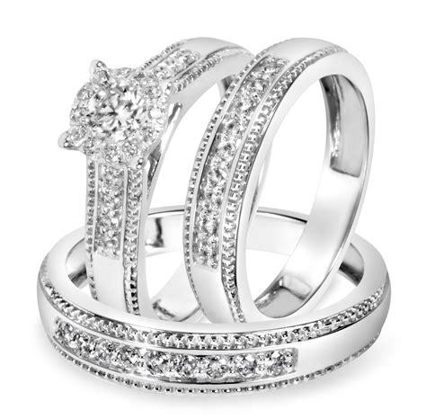7 8 carat t w trio matching wedding ring 14k white gold my trio rings bt517w14k