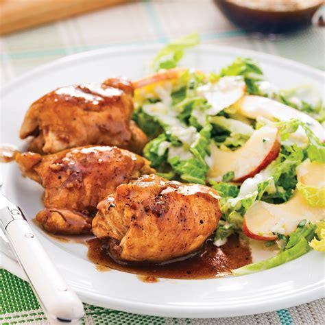 cuisiner haut de cuisse de poulet hauts de cuisses caramélisés érable et ail soupers de semaine recettes 5 15 recettes