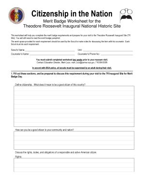 fillable nps citizenship in the nation merit badge worksheet for the theodore roosevelt