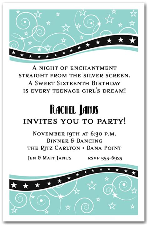 swirls  stars tiffany blue party invitations