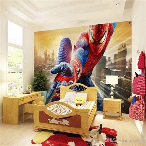 marvel bedroom decor custom marvel wall mural boys children photo wallpaper silk wallpaper home
