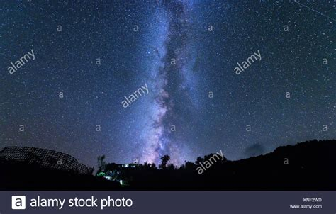 Milky Way And Tree Amazing Rural Scene With Starry Sky At