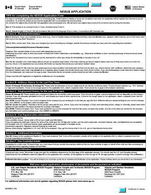 nexus application form canada nexus forms fill online printable fillable blank