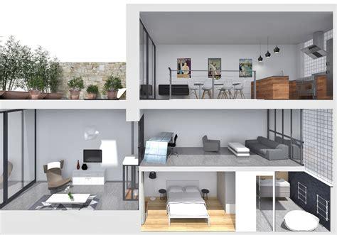 plan amenagement cuisine loft industriel réorganisé sur 4 plateaux architecte d