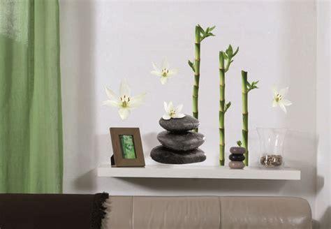sticker pour carrelage cuisine décoration galets fleurs de lotus et bambous stickers