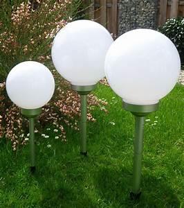 3er set led solarleuchte 252525 cm leuchtkugel With französischer balkon mit led garten kugel