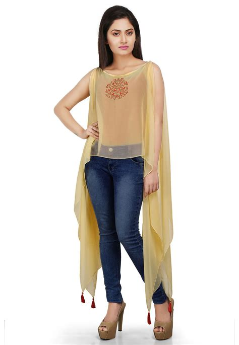 embroidered asymmetrical georgette hem cape  yellow