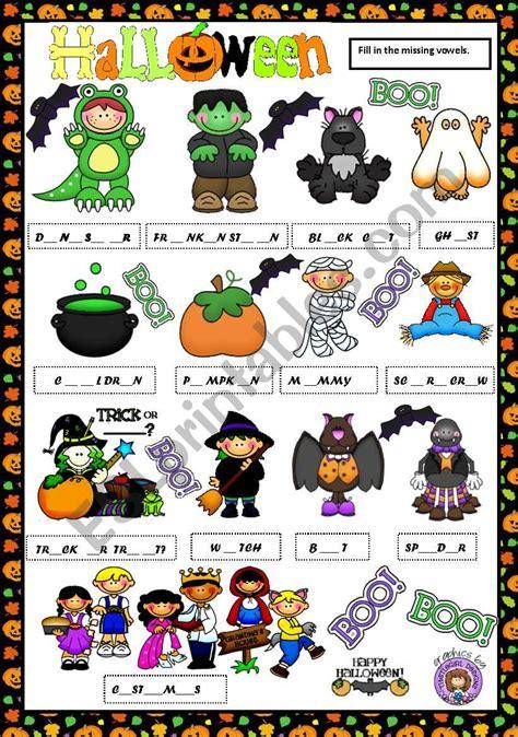 Halloween Vocabulary  Missing Vowels  Esl Worksheet By Macomabi