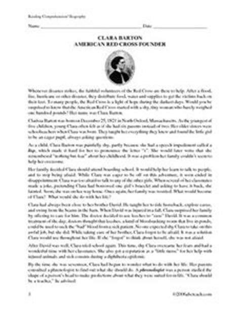 clara barton biography reading comprehension worksheet for 4th grade lesson planet