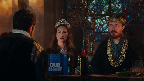 new bud light commercial featuring a medieval feast with a king and queen receiving