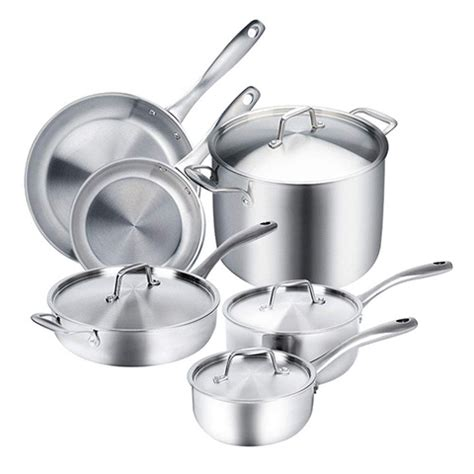 cookware induction stainless steel clad ply tri duxtop whole ready amazon pc magnetic pans premium pots glass stoves sets triply