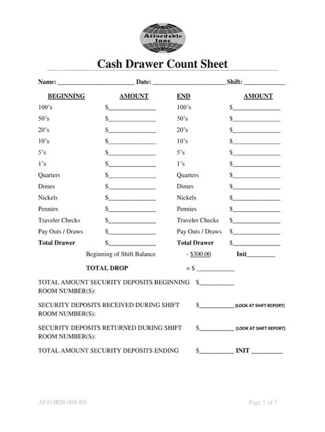 cash drawer count sheet fill  printable fillable