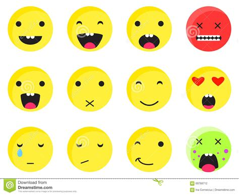 Yellow Round Smile Emoji Set. Emoticon Icon Flat Style