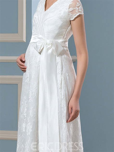 ericdress casual short sleeves lace maternity wedding