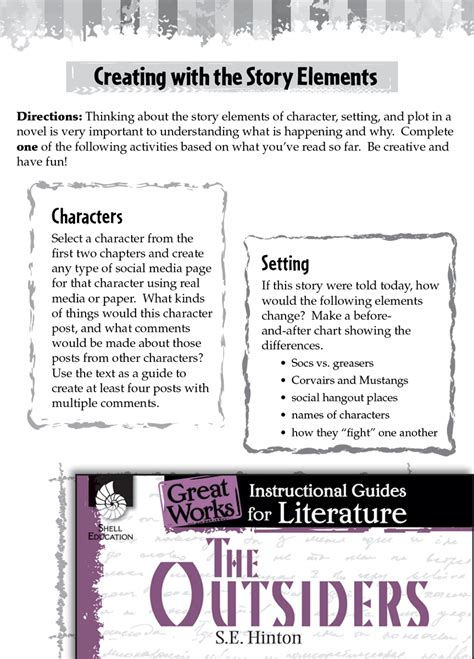 outsiders studying  story elements teachers